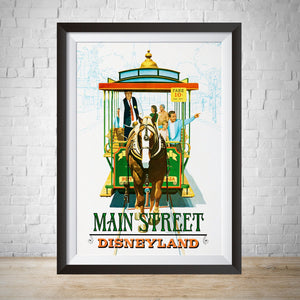 Main Street Trolley - Vintage Disneyland Attraction Poster