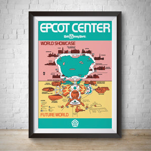 1982 - Vintage Epcot Park Map Poster Print - Disney World
