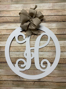 Family Monogram Initial Circle Sign - 18""