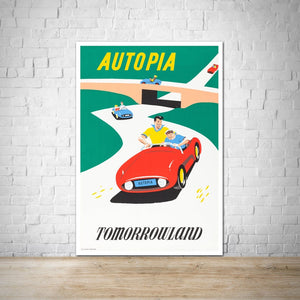 Autopia Vintage Attraction Poster - Disneyland - Tomorrowland