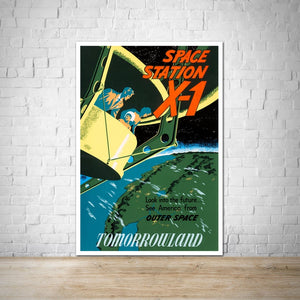 Tomorrowland 1955 Space Station X-1 Vintage Attraction Poster