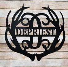"Load image into Gallery viewer, Family Name & Monogram Initial Antlers - Yard/Garden Flag  - 12"" or 14"""