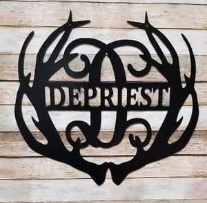 "Family Name & Monogram Initial Antlers - Yard/Garden Flag  - 12"" or 14"""