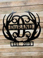 "Load image into Gallery viewer, Deer Antlers Decor -  Monogram + Last Name + Established Year - 18"" Family Monogram Sign"