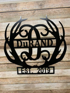"Deer Antlers Decor -  Monogram + Last Name + Established Year - 18"" Family Monogram Sign"