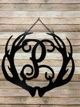 "Load image into Gallery viewer, Deer Antlers Decor - Monogram - 24"" Family Monogram Sign"