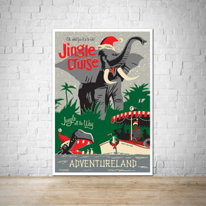 Jingle River Cruise - Adventureland - Vintage Attraction Poster