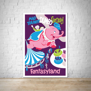 Mad Tea Party, Dumbo, Fantasyland - Vintage Attraction Poster