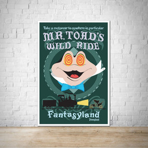 Mr Toads Wild Ride - Vintage Disneyland Attraction Poster