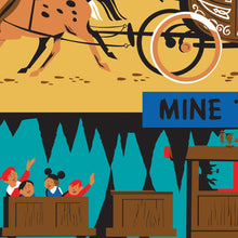 Load image into Gallery viewer, Frontierland - Stage Coach, Mine Train & Mule Pack - Vintage Disneyland Poster