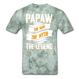 Papaw the Legend T-Shirt - military green tie dye