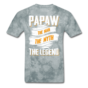 Papaw the Legend T-Shirt - grey tie dye