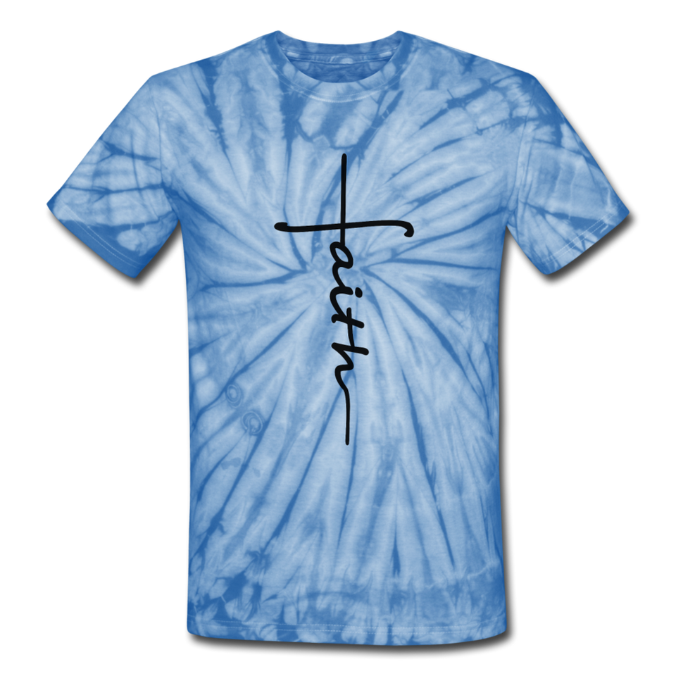 Faith - Unisex Tie Dye T-Shirt - spider baby blue