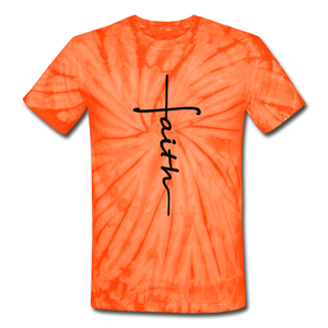 Faith - Unisex Tie Dye T-Shirt - spider orange