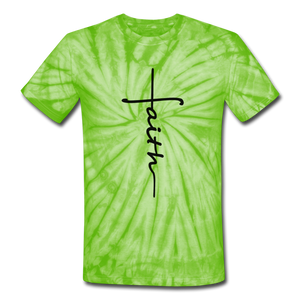 Faith - Unisex Tie Dye T-Shirt - spider lime green