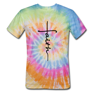 Faith - Unisex Tie Dye T-Shirt - rainbow