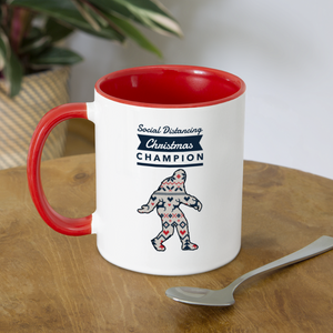 Big Foot - Social Distancing Christmas Champion Coffee Mug - white/red
