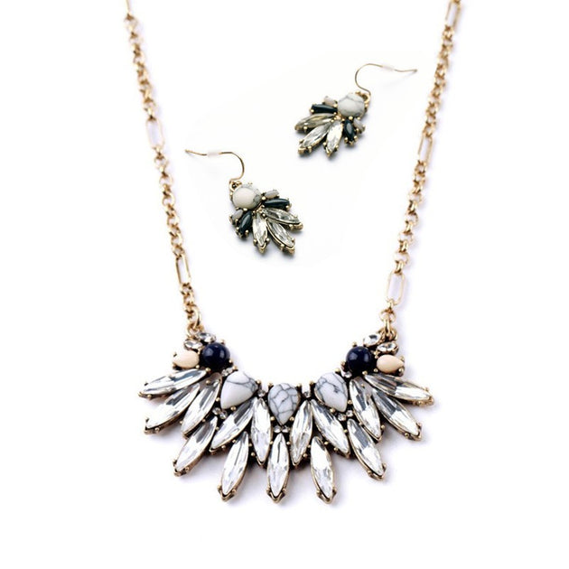 Marble Stone Vintage Statement Necklace & Earrings Set