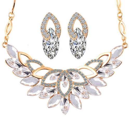 Romantic Flower Necklace & Earrings Set