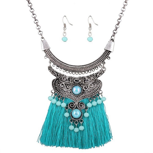 Bohemian Tassel Necklace & Earrings Set
