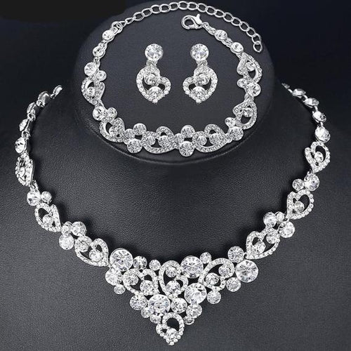 Silver Heart Crystal Bridal Set