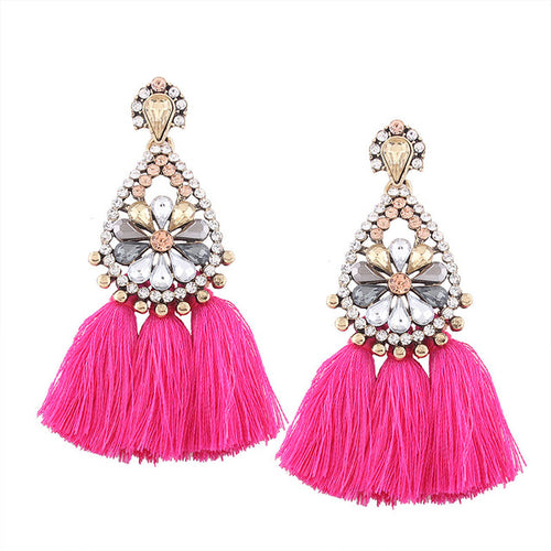 Bohemian Tassel Rhinestone Earrings