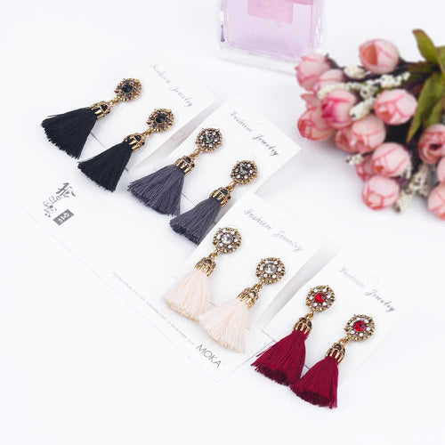 Vintage Flower Tassel Earrings