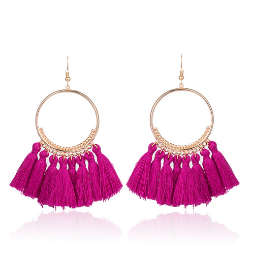 Bohemian Cotton Tassel Earrings