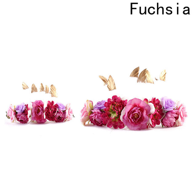 Feather Flower Crown Mother & Daughter Set