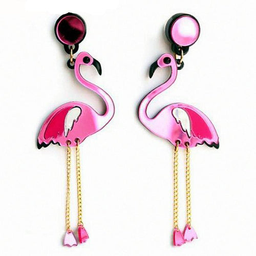 Flamingo Tassel Long Earrings