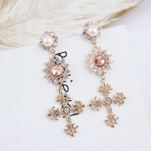 Long Cross Pendant Earrings