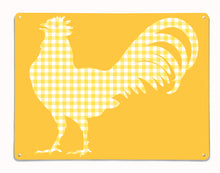 Gingham Cockerel design yellow magnetic board and metal wall art panel