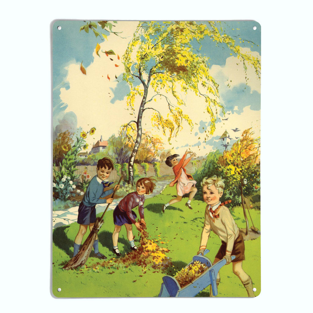 'Collecting Leaves' - Large Magnetic Notice Board / Wall Art