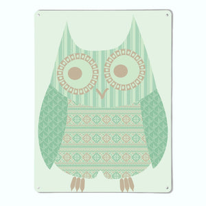 Fair Isle Owl Turquoise Magnetic Notice Board
