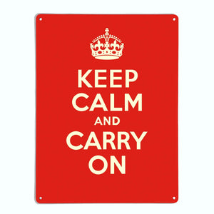 Keep Calm And Carry On Red Magnetic Notice Board