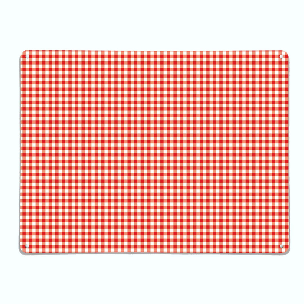 Gingham Red Magnetic Notice Board