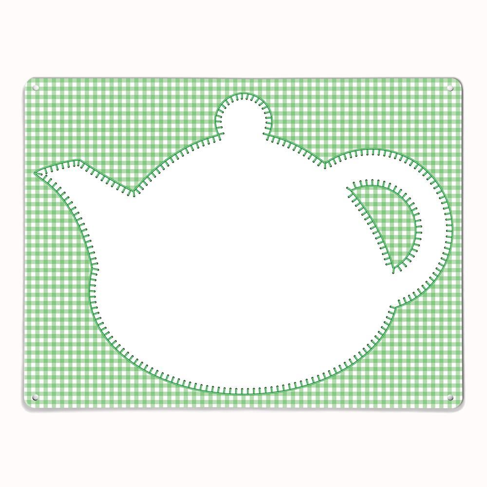 'Teapot - Green' - Large Magnetic / Dry Wipe Board