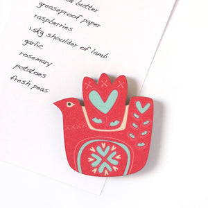 Love Bird fridge magnet with shopping list