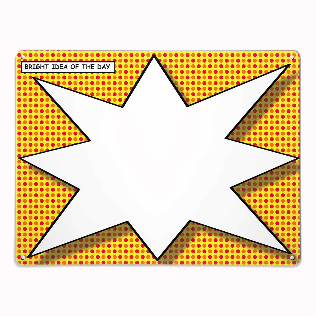 'Bright Idea of the Day Yellow/Red' - Large Magnetic / Dry Wipe Board