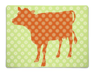 'Daisy Cow - Orange/Green' - Large Magnetic Notice Board / Wall Art