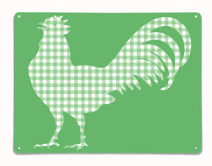 Gingham Cockerel design green magnetic board and metal wall art panel