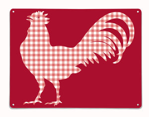 Gingham Cockerel design red magnetic board and metal wall art panel