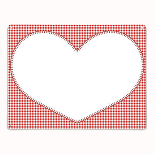 Applique Heart on red gingham dry wipe magnetic board