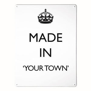 'Made In My Town' - White - Large Magnetic Notice Board / Wall Art