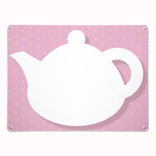 'Teapot - Pink' - Large Magnetic / Dry Wipe Board