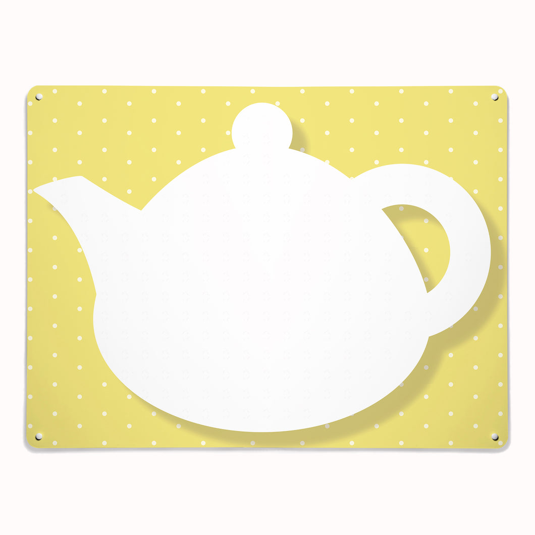 'Teapot - Yellow' - Large Magnetic / Dry Wipe Board