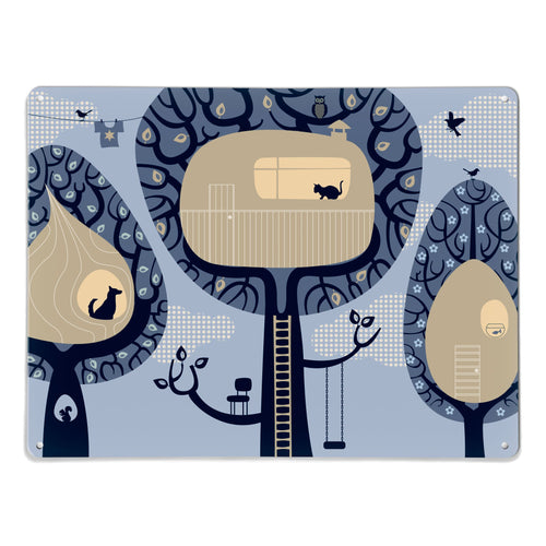 Tree Houses Blue Magnetic Board