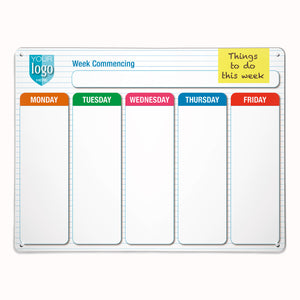'5 Day Planner' - Large Magnetic Notice Board / Dry Wipe Panel