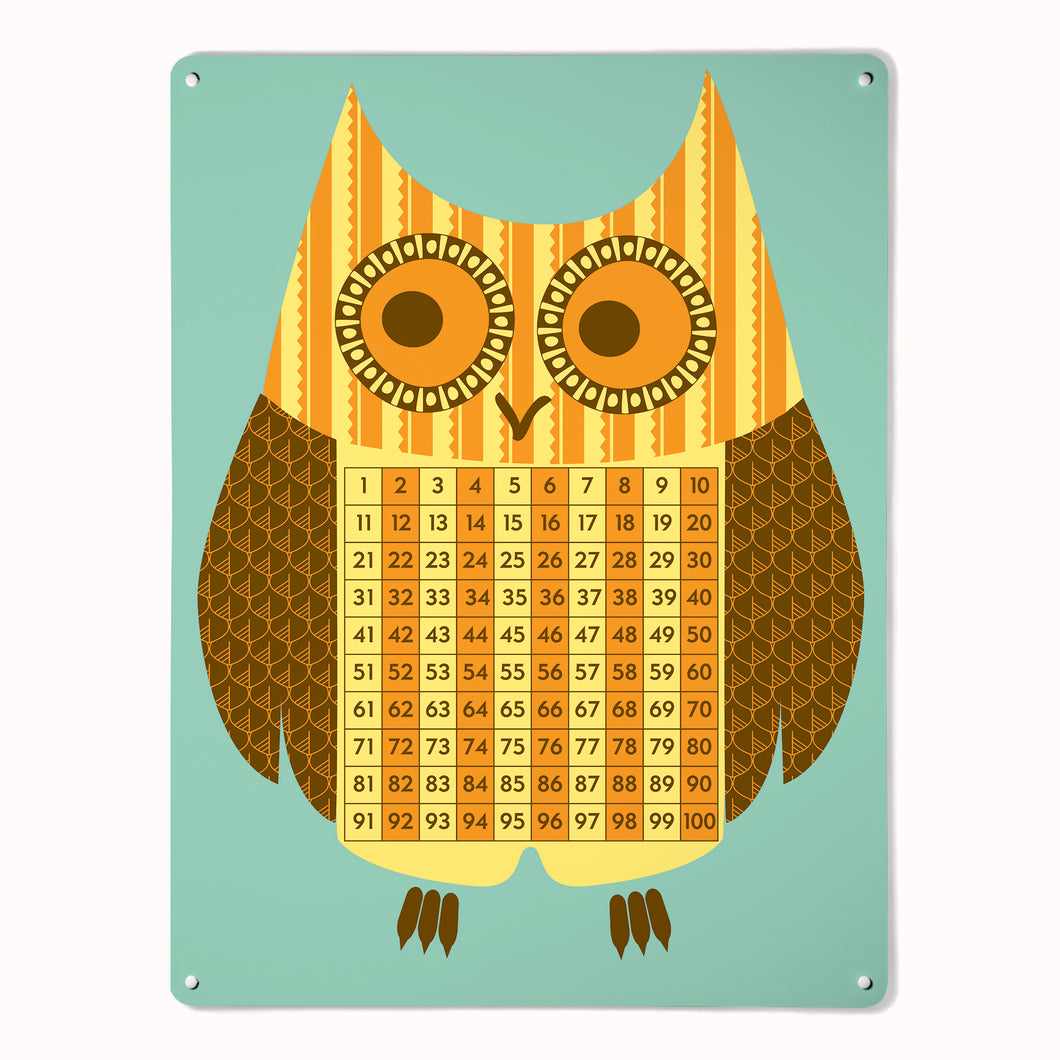 'Wise Owl - Number Square'  - Large Magnetic Notice Board
