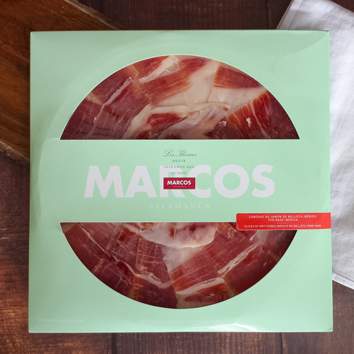 Marcos Presliced Acorn-Fed (Bellota) Iberian Ham | Spanish Meats for Charcuterie, Spanish gourmet food for tapas night | Buy online Spanish store
